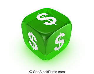 translucent green dice with dollar sign - one translucent...