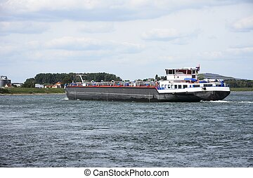 Transport Ship - Transport ship at the river Rhine in...