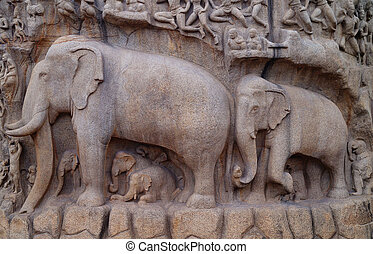 The Elephants Sculpture - Stone carvings of Elephant...