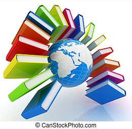 Colorful books like the rainbow and earth