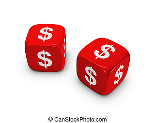pair of red dice with dollar sign isolated on white...