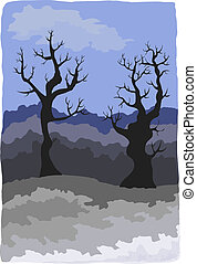 Gloomy winter landscape with fanciful trees. Eps 10 - Gloomy...