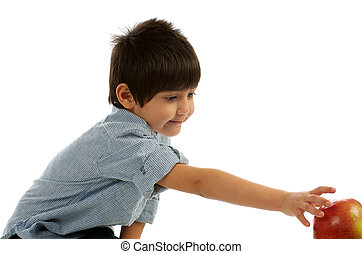 Little Boy Reaching for Apple - Little Boy in Striped Shirt...
