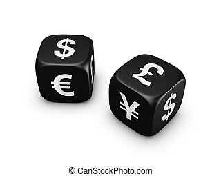 pair of black dice with currency sign - pair of black dice...