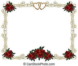 Red Roses Border invitation - Image and illustration...
