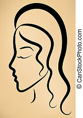 Sketch of woman's face profile on vintage background. Eps 10