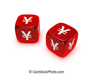 pair of translucent red dice with yen sign isolated on white...