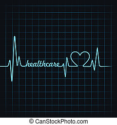 heartbeat make healthcare text and heart symbol stock vector...