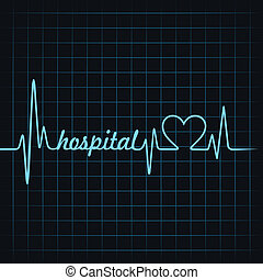 heartbeat make hospital text and heart symbol stock vector...