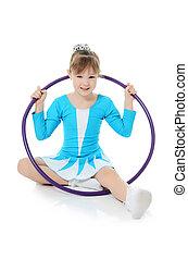 poco, niña, gimnasta, ejercicio