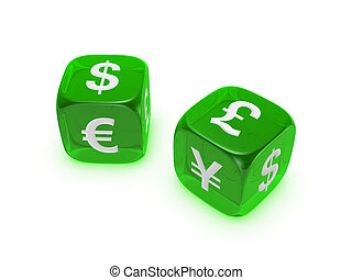 pair of translucent green dice with currency sign
