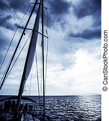 Sailboat at night, luxury water transport, water cruise on...