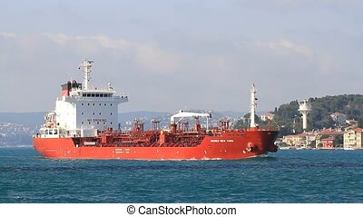 Tanker ship full of oil. Tracking - Oil chemical tanker...