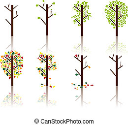 Process of a tree - Vector image - A process of a tree from...