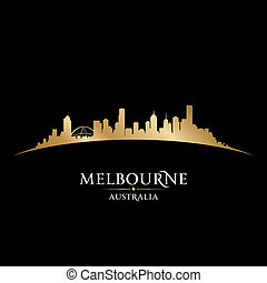 Melbourne Australia city skyline silhouette black background...