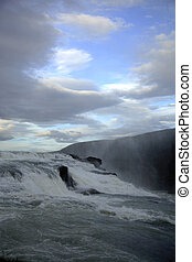 Fast flowing Gulfoss - Fast flowing waterfall Gulfoss in...