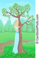 Beautiful young woman beside tree. Eps 10 - Beautiful young...