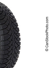 The automobile tire isolated on white