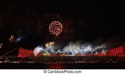 Colorful fireworks all over the sky - Fireworks over the...