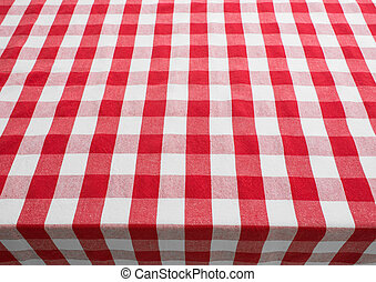 empty table top view covered by red gingham tablecloth