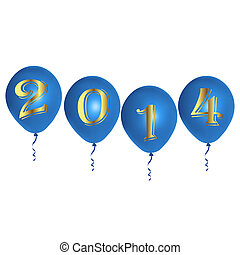 New Year blue balloons - Vector illustration of colorful...