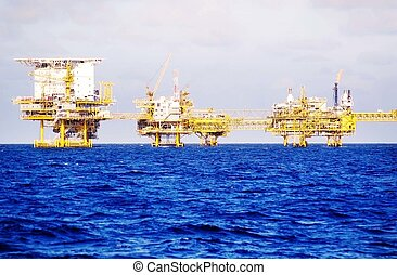 Oil Rig Offshore - Offshore oil rig production platform in a...