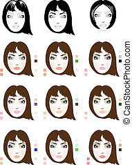 Samples of chestnut-coloured hair woman face scheme for makeup application. Set of fashionable makeup patterns. Eps 10