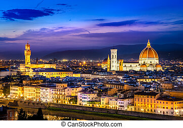 Scenic view of Florence at night from Piazzale Michelangelo,...