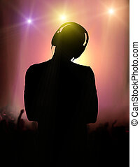 DJ with the croud on background - DJ Silhouette with the...