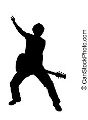 Black silhouette of a playing guitarist, on white background