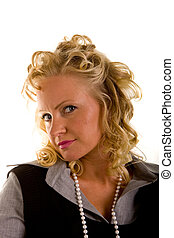Curly Blonde in Pearls Head to Side