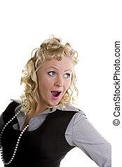 Curly Blonde Looking Surprised