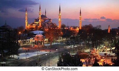 Blue Mosque at Winter - Sultanahmet Camii most famous as...