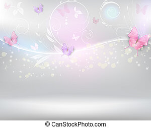 Abstract background with florals and butterflies - Abstract...