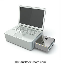 USB disk system recovery. Concept image.