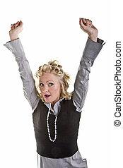 Curly Blonde Yawning