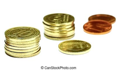 Close up of coin stacks Pan Video - Camera pans over coins...