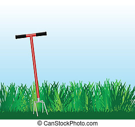 Hand cultivator on green lawn. Vector illustration.