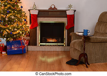 christmas living room with fireplace