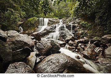 Waterfall - Wild water of the waterfall in Sri Lanka.