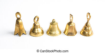 Five brass jingle bells - Five brass bells on white...