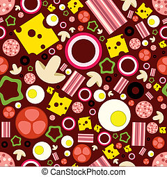 pizza ingredients seamless pattern