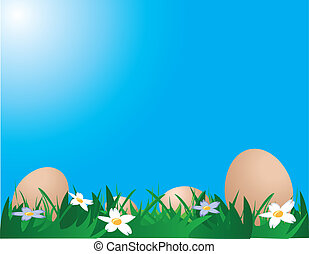 Chicken eggs on the grass - Illustration of chicken eggs on...