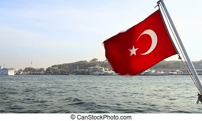Turkey Flag Waving - Turkish Flag waving in front of...