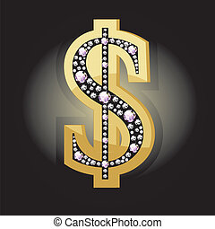 Dollar symbol in diamonds