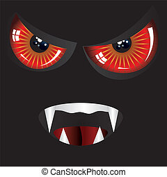 Evil face with red eyes - Danger evil face with red eyes and...