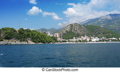 Budva Riviera - panorama of Budva Riviera from a boat