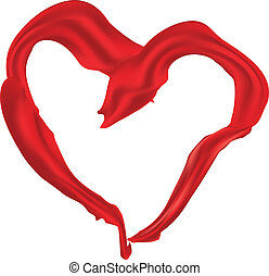 Heart shaped red scarf - Heart shaped elegant red santin...