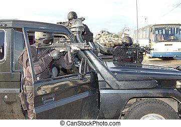 jeep patrol - image of couple soldiers get patrol with jeep