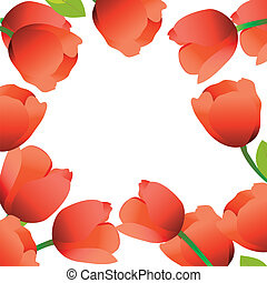 Tulips frame - Red tulip flowers forming an abstract border.